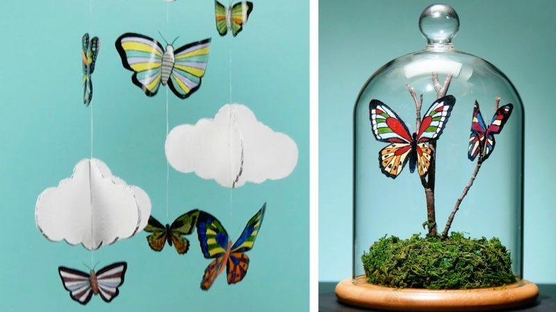 Farfalle colorate realizzate con bottiglie di plastica
