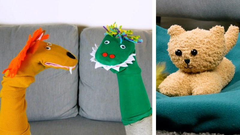 Pupazzi di peluche creati con il riciclo creativo dei calzini spaiati