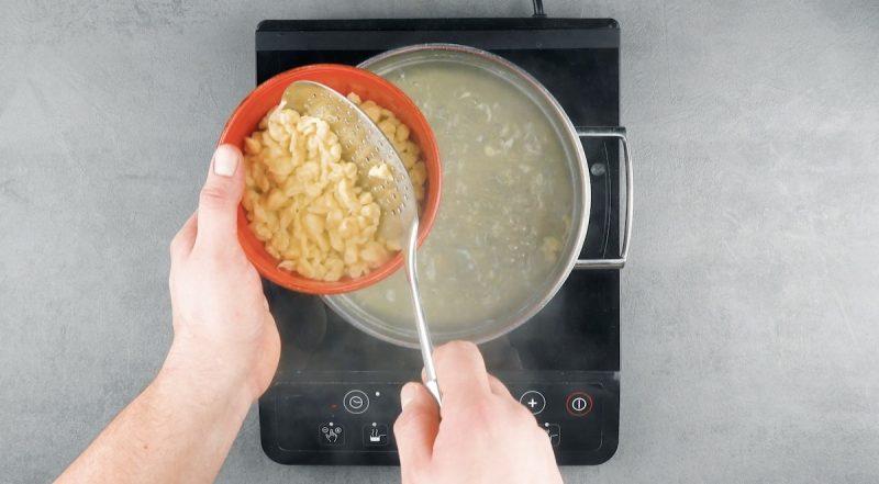 Gnocchetti di pasta all'uovo scolati