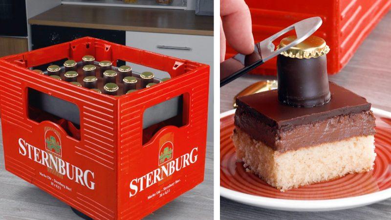 Torta al cioccolato a forma di cassa di birra