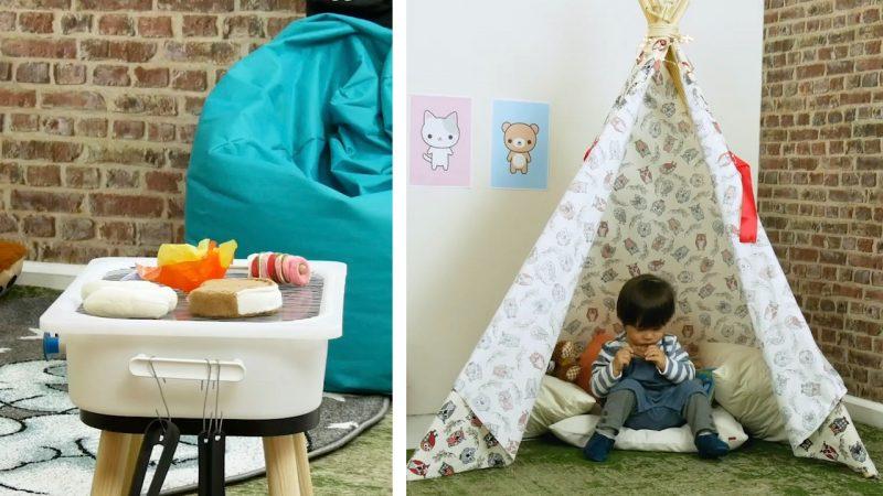 Griglia barbecue e tenda indiana per la cameretta bambini