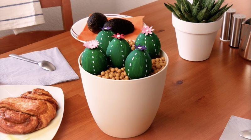 uova sode con disegno cactus