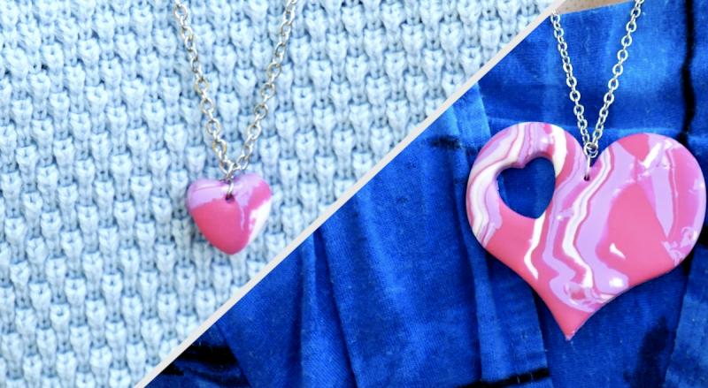 Collane a forma di cuore realizzate con l'artigianato creativo