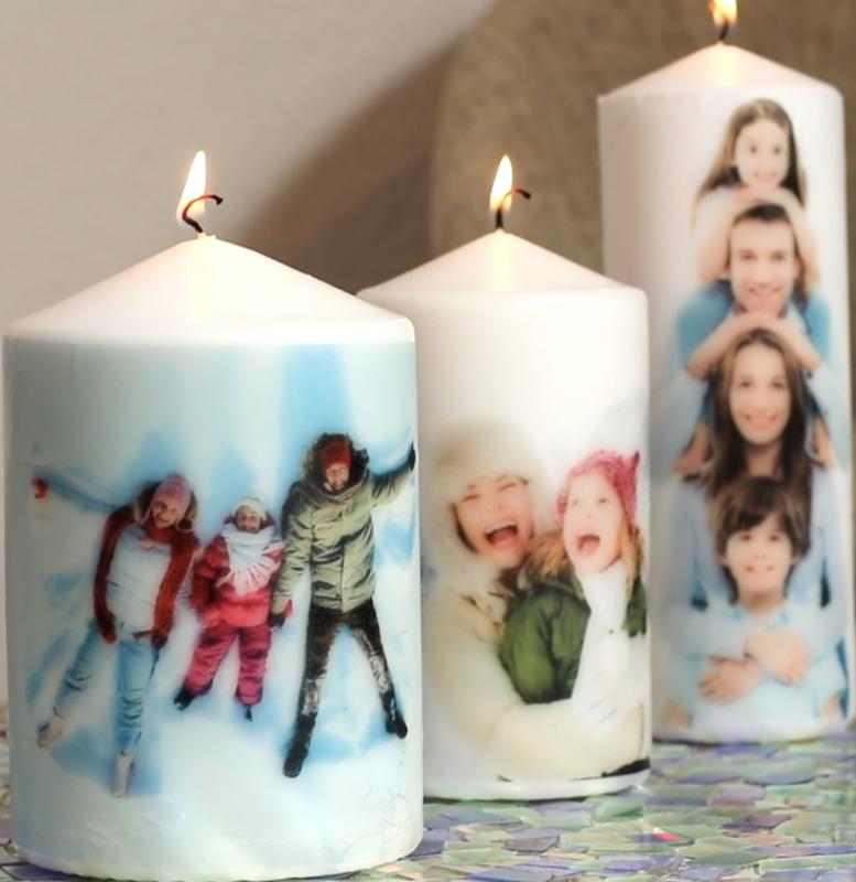 Candele personalizzate con foto di famiglia