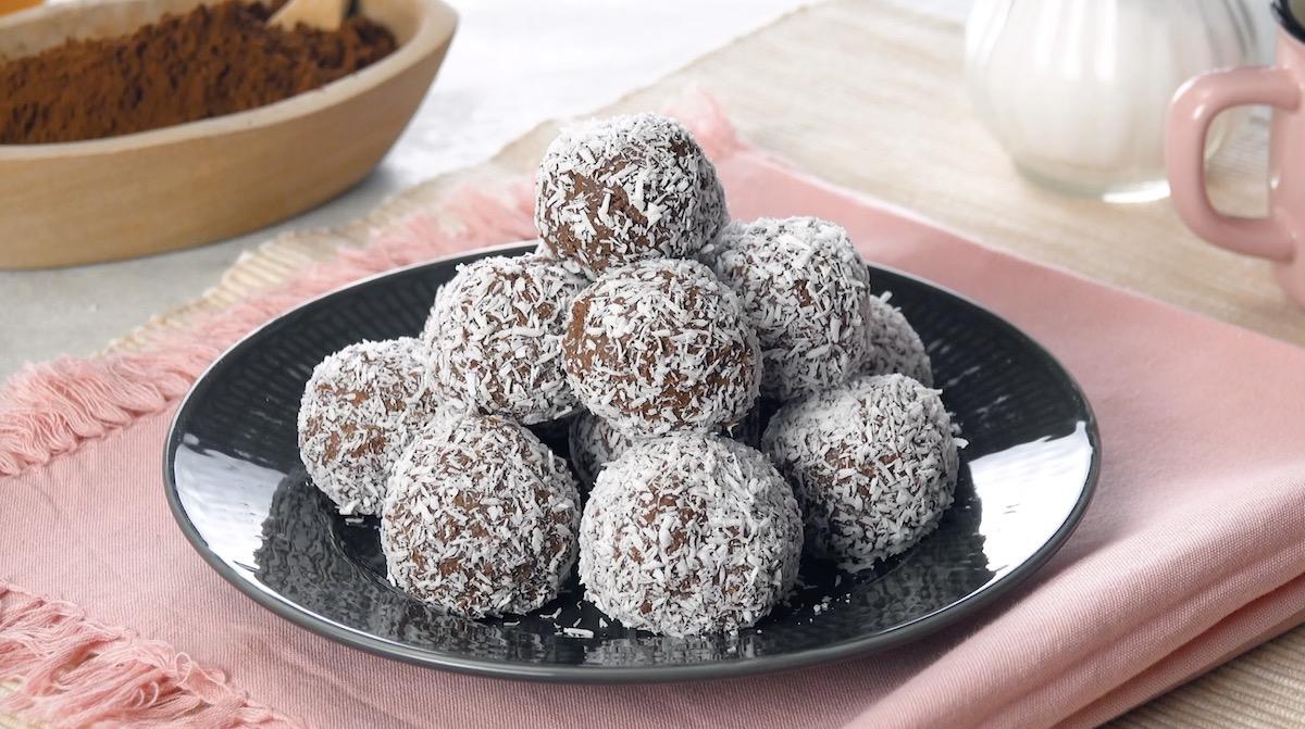 Praline al cioccolato con cocco rapè