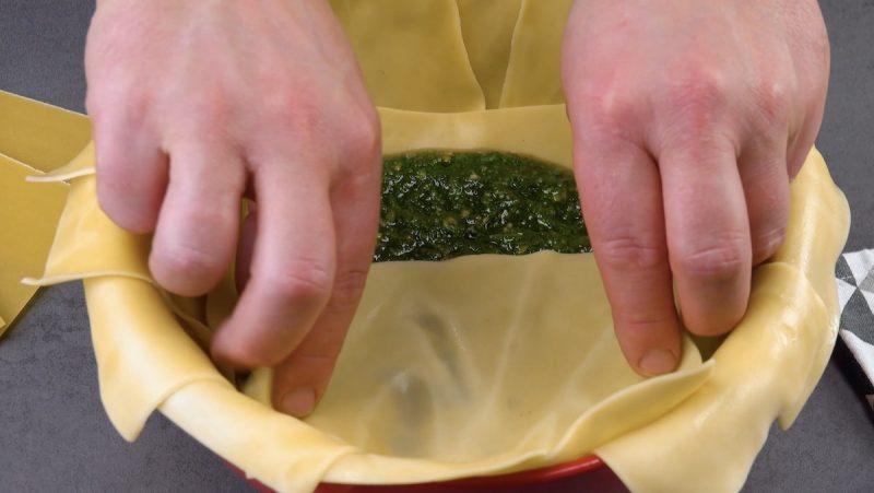 Sfoglia per lasagne con pesto alla genovese