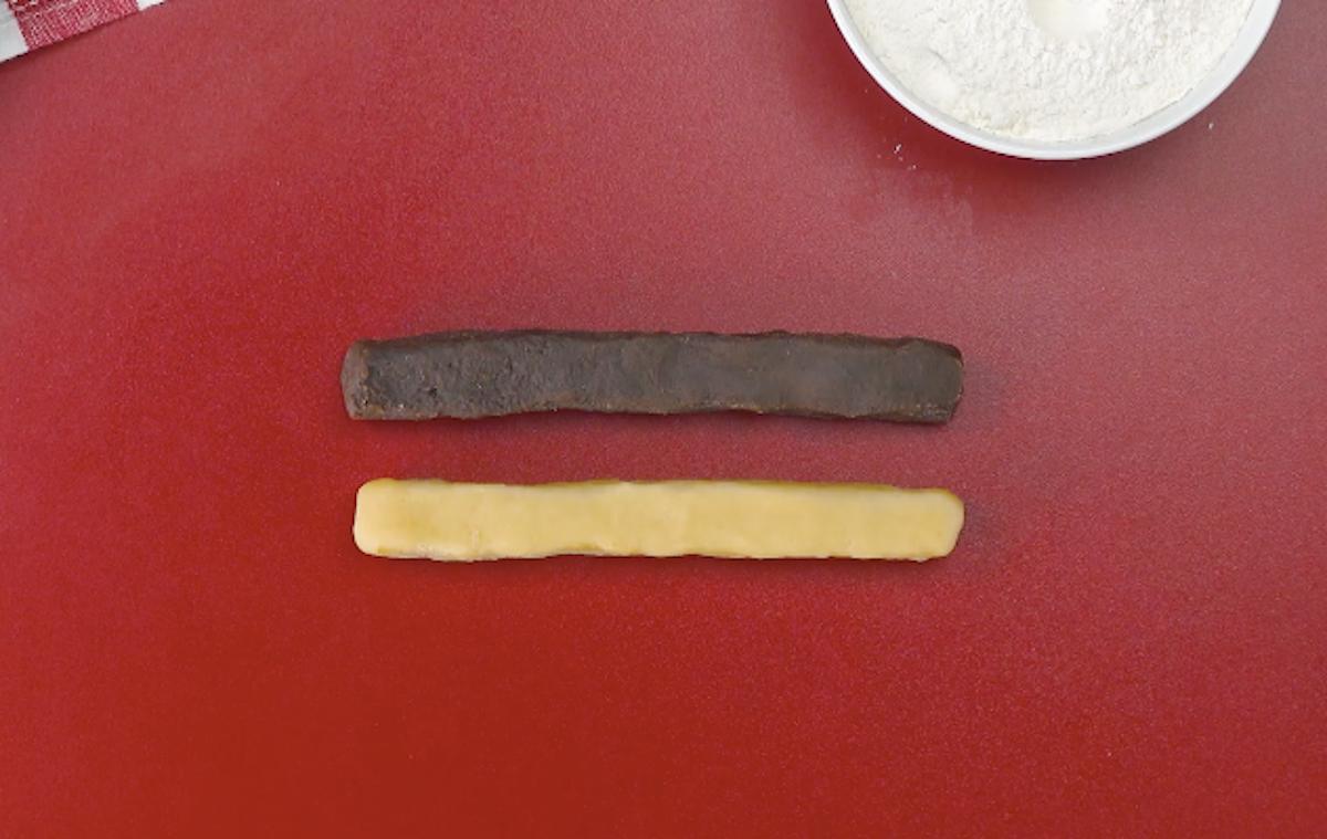 Parallelepipedo di pasta frolla alla vaniglia e al cioccolato
