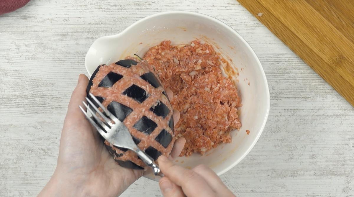 Melanzane ripiene di carne macinata