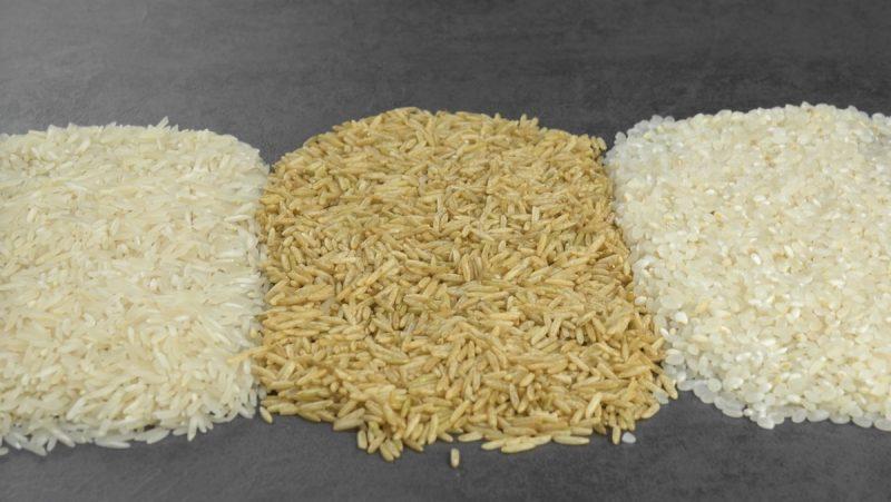 Riso bianco a chiccho lungo, riso integrale e riso bianco a chicco corto