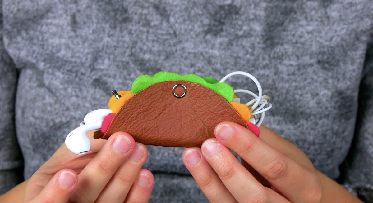 Porta cuffie per musica a forma di tacos