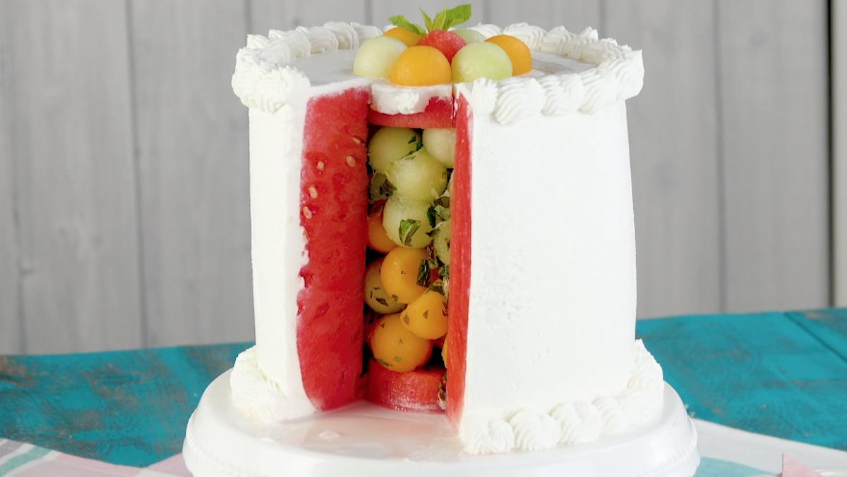 Torta fredda con anguria e melone