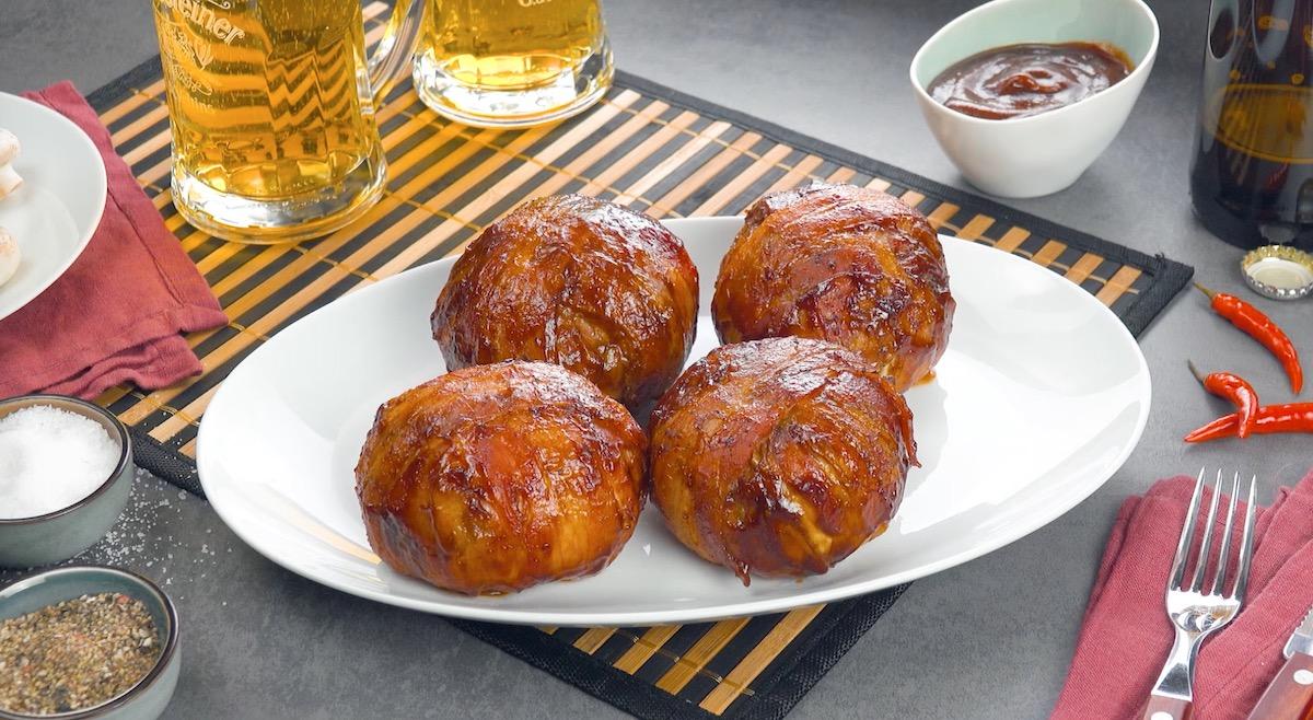Polpette grigliate in crosta di cipolla e pancetta tesa