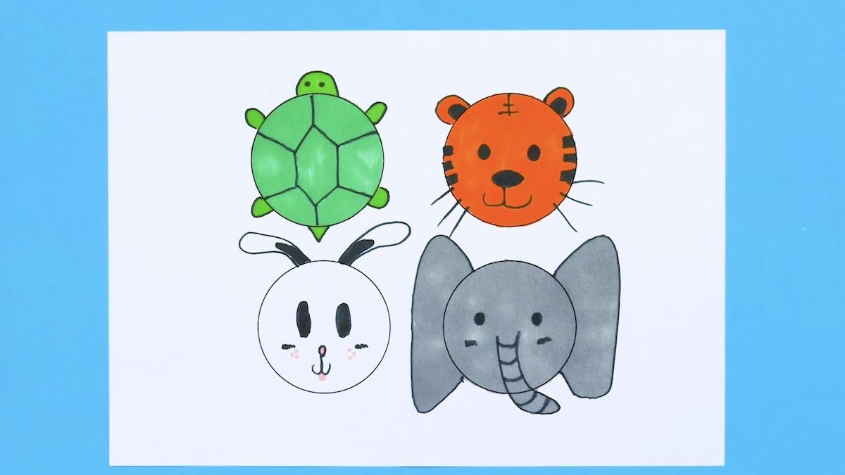 Disegni per bambini - tartaruga, tigre, coniglio ed elefante