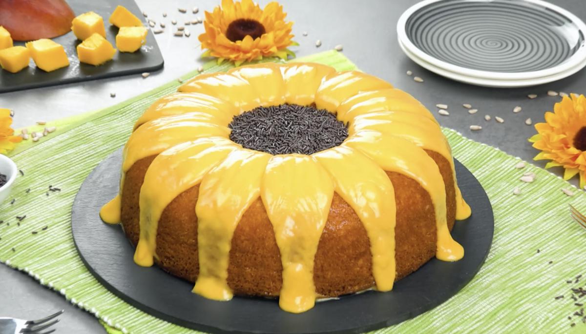 Torta girasole con brigadeiro e crema al mango