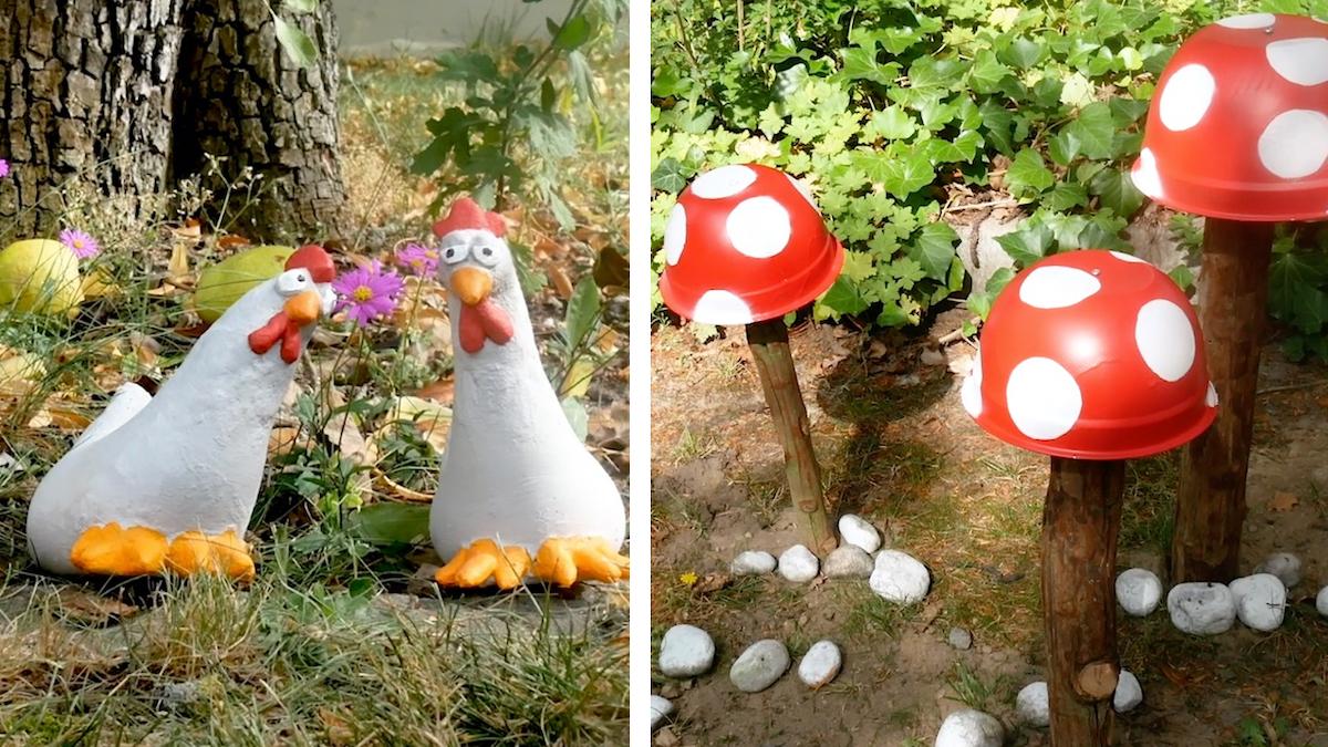 Decorazioni giardino a forma di galline e funghi