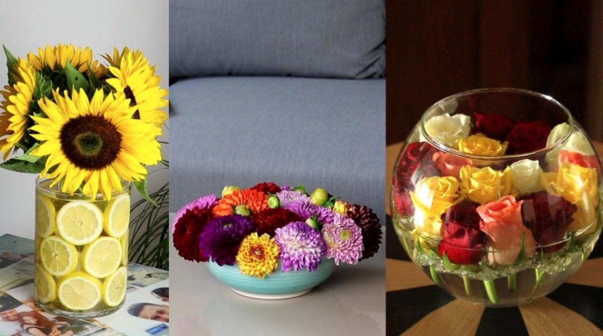 3 composizioni floreali