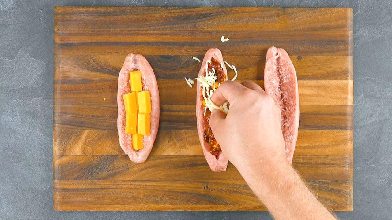 Salsiccia ripiena di fagioli e mais