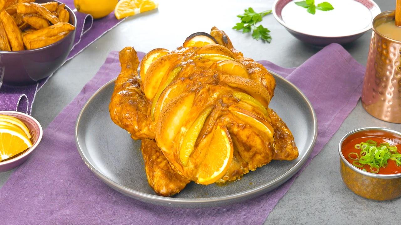 Pollo ripieno arrosto con spezie orientali