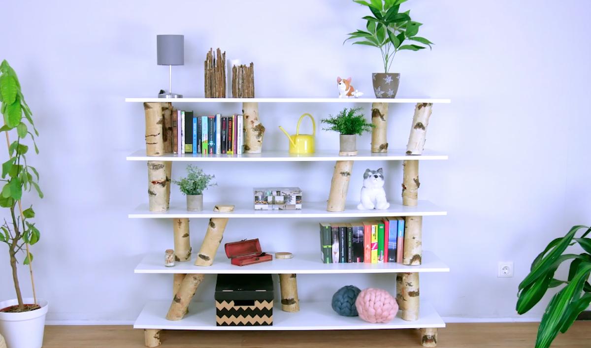 Libreria artigianale con tronchi di betulla