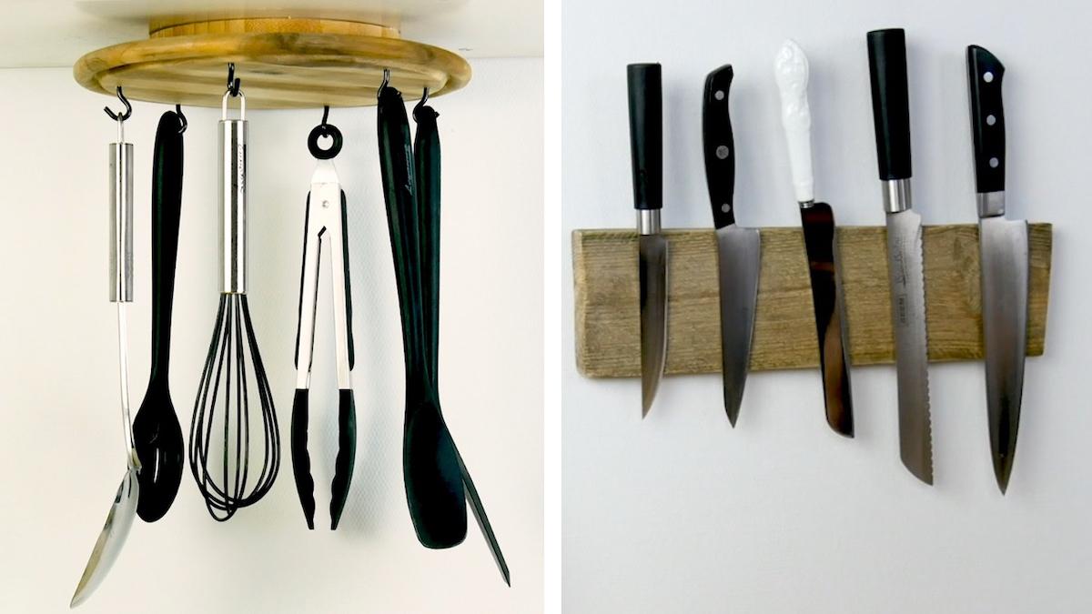 Idee di riciclo creativo del legno per fare ordine in cucina