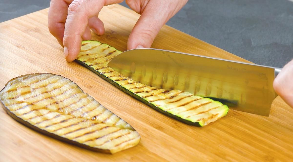 Fette di zucchine e melanzane