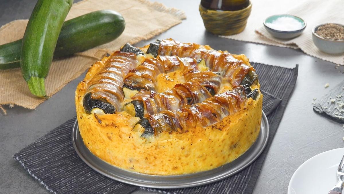 Sformato di patate, carne macinata e zucchine ripiene
