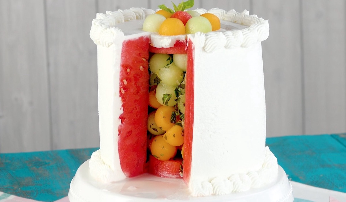 Torta fredda all'anguria e melone