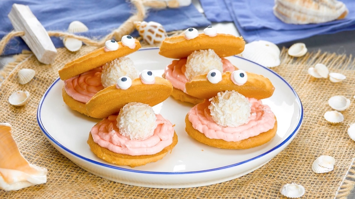 Molluschi di biscotti al burro e crema al formaggio