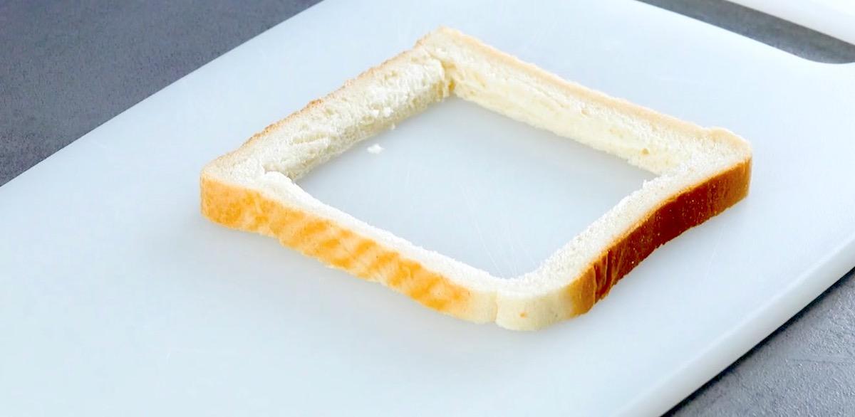 Quadrato nella mollica del pancarrè