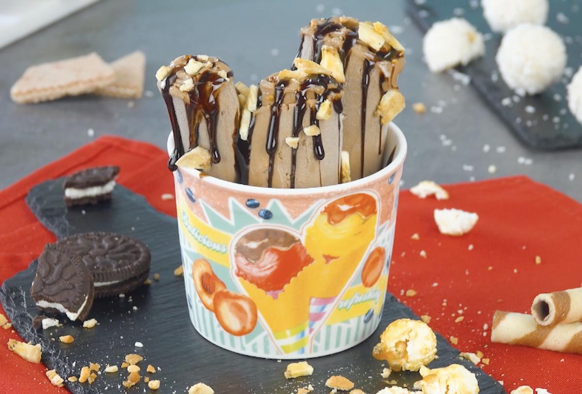 Rotolini di gelato con nutella e banana