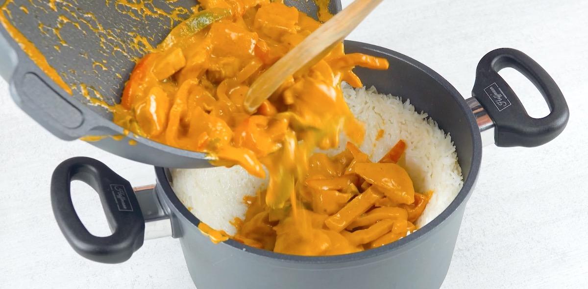 Straccetti di pollo e peperoni nel riso basmati