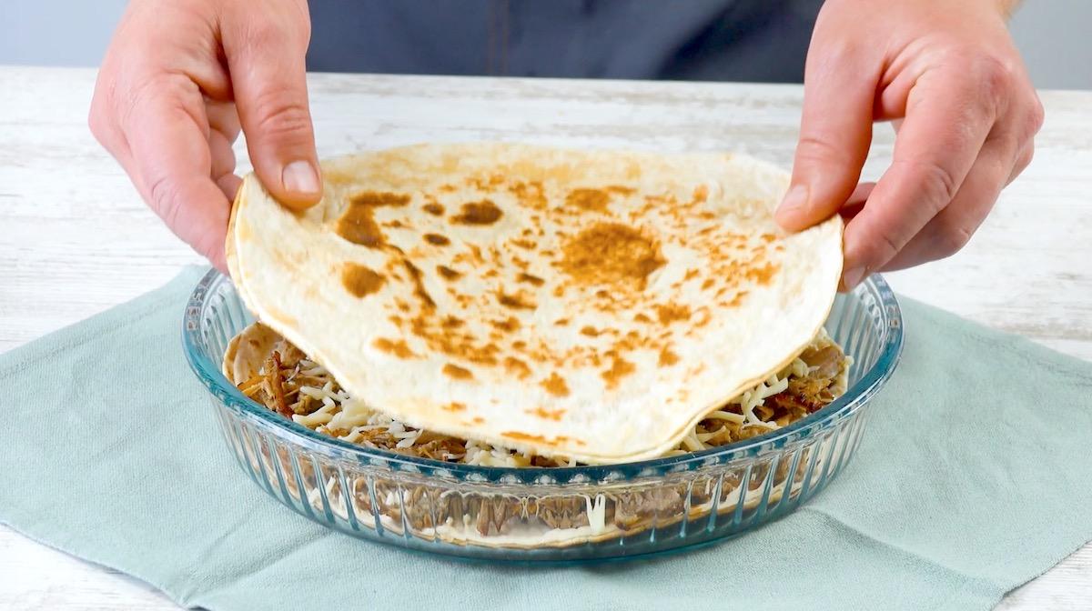Pasticcio di carnee tortillas ripiene