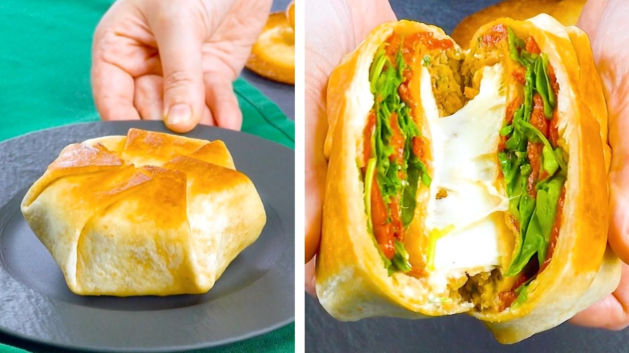 Tortillas ripiene di hamburger di carne, bastoncini di pesce, hamburger di verdure