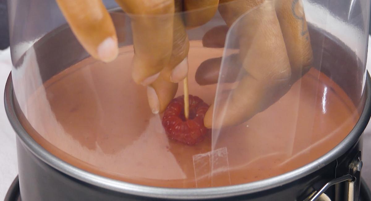Lampone rosso nella gelatina